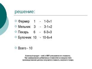 решение: Фермер 1 - 1-0=1 Мельник 3 - 3-1=2 Пекарь 6 - 6-3=3 Булочник 10 - 10