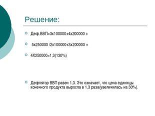 Решение: Деф.ВВП=3х100000+4х200000 + 5х250000 /2х100000+3х200000 + 4Х250000=1