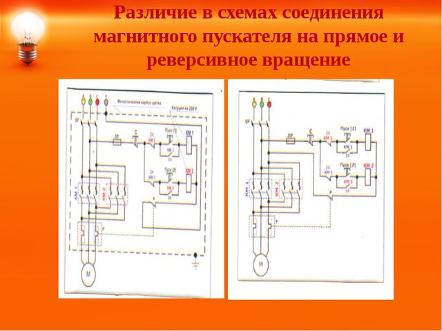 Различие в схемах соединения магнитного пускателя на прямое и реверсивное вра...