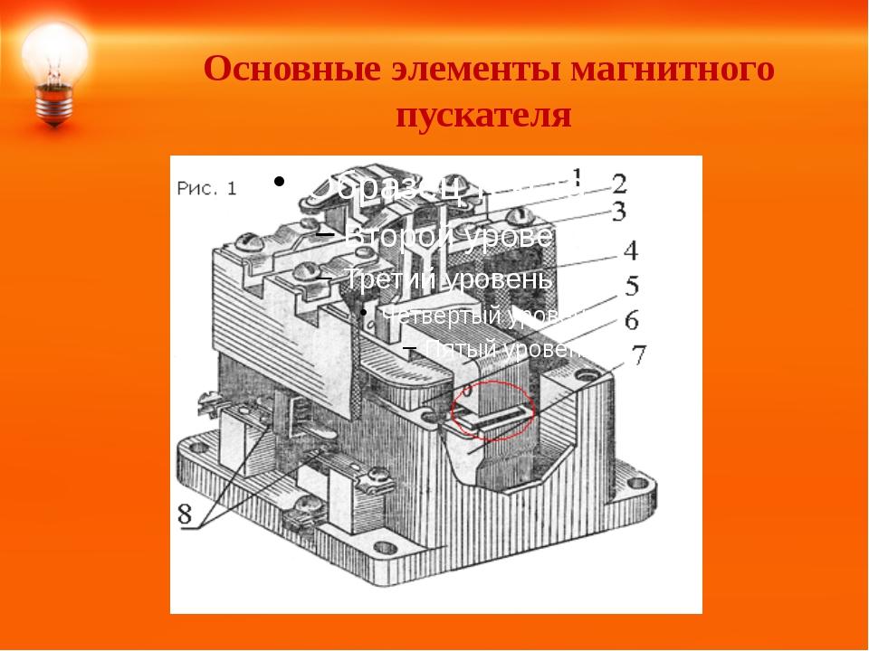 Основные элементы магнитного пускателя