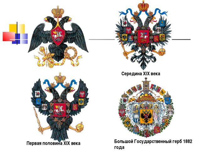 Первая половина XIX века Середина XIX века Большой Государственный герб 1882...