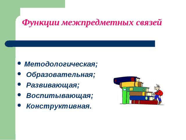 Функции межпредметных связей Методологическая; Образовательная; Развивающая;...