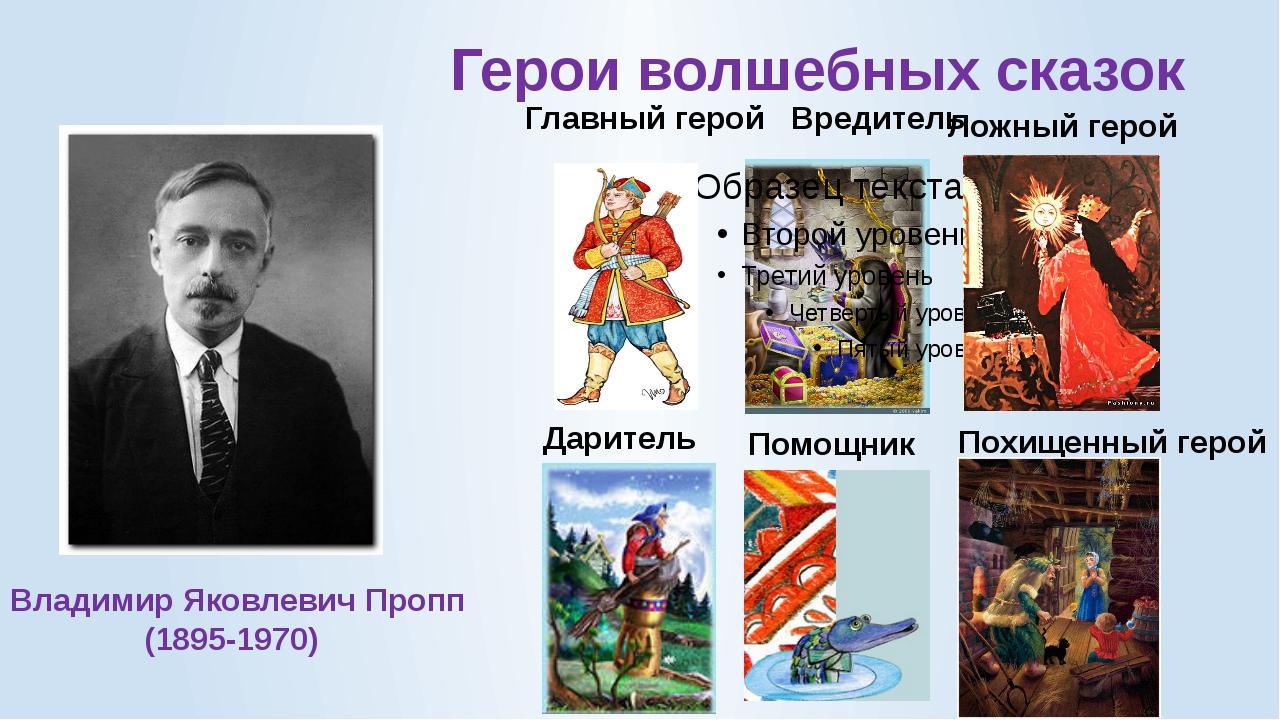 Герои волшебных сказок Главный герой Вредитель Ложный герой Даритель Помощник...
