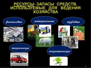 финансовые материальные трудовые технические энергетические *