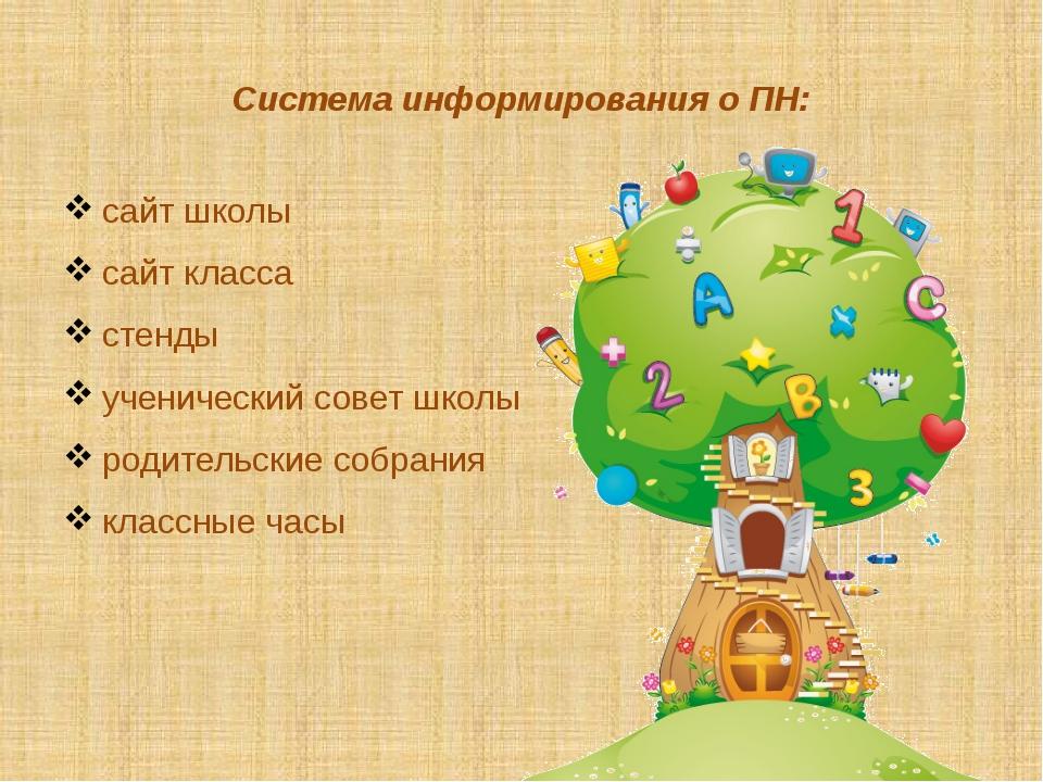Система информирования о ПН: сайт школы сайт класса стенды ученический совет...