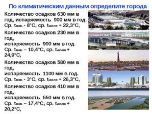 По климатическим данным определите города Количество осадков 630мм в год, исп