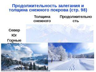 Продолжительность залегания и толщина снежного покрова (стр. 98) Толщина снеж