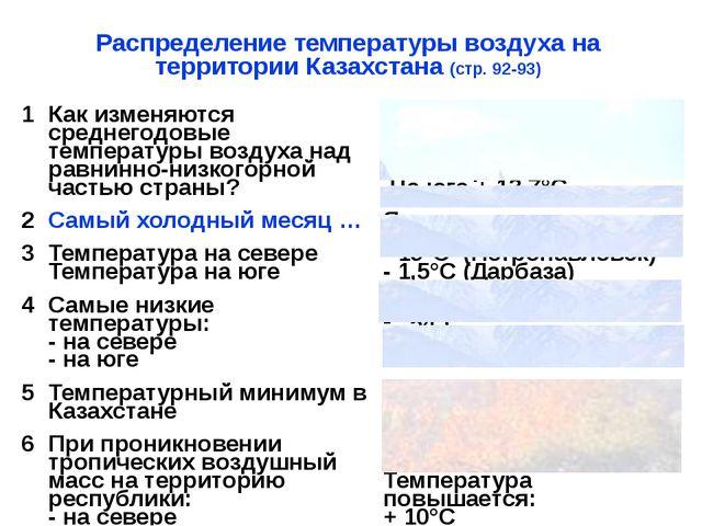 Распределение температуры воздуха на территории Казахстана (стр. 92-93) 1 Как...