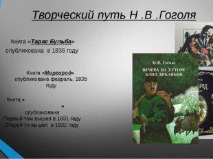 Творческий путь Н .В .Гоголя Книга «Тарас Бульба» опубликована в1835 году К