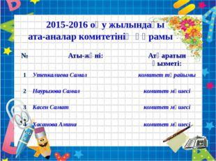 2015-2016 оқу жылындағы ата-аналар комитетінің құрамы № Аты-жөні: Атқаратын