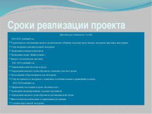 Сроки реализации проекта Проект рассчитан на 3 года. 2010-2011 учебный год: Т