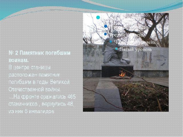 № 2 Памятник погибшим воинам. В центре станицы расположен памятник погибшим в...