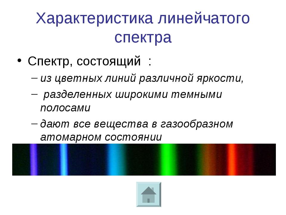 Характеристика линейчатого спектра Спектр, состоящий : из цветных линий разли...