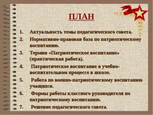 ПЛАН Актуальность темы педагогического совета. 2. Нормативно-правовая база по