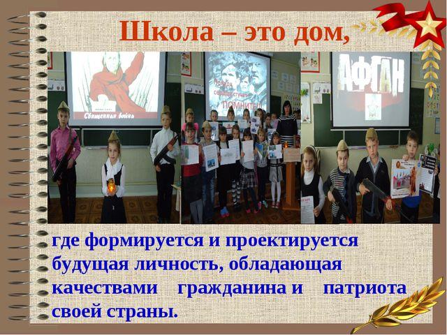 Школа – это дом, где формируется и проектируется будущая личность, обладающая...