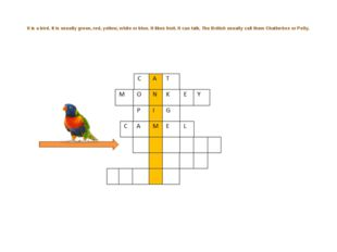 It is a bird. It is usually green, red, yellow, white or blue. It likes frui