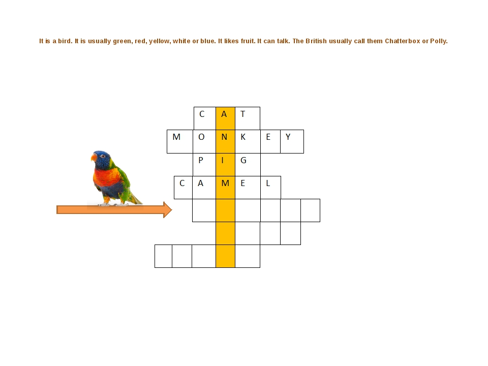 It is a bird. It is usually green, red, yellow, white or blue. It likes frui...