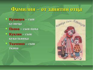 Фамилия – от занятия отца Кузнецов – сын кузнеца Попов – сын попа Куклин – сы