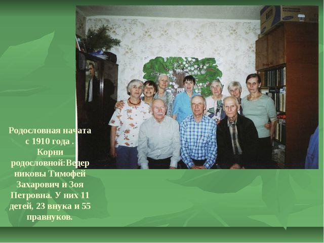 Родословная начата с 1910 года . Корни родословной:Ведерниковы Тимофей Захаро...