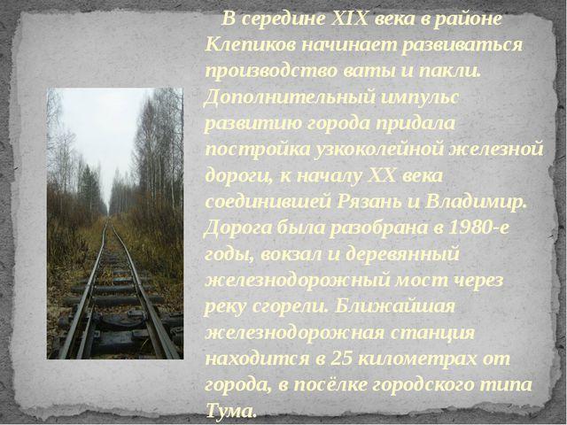 В середине XIX века в районе Клепиков начинает развиваться производство ваты...