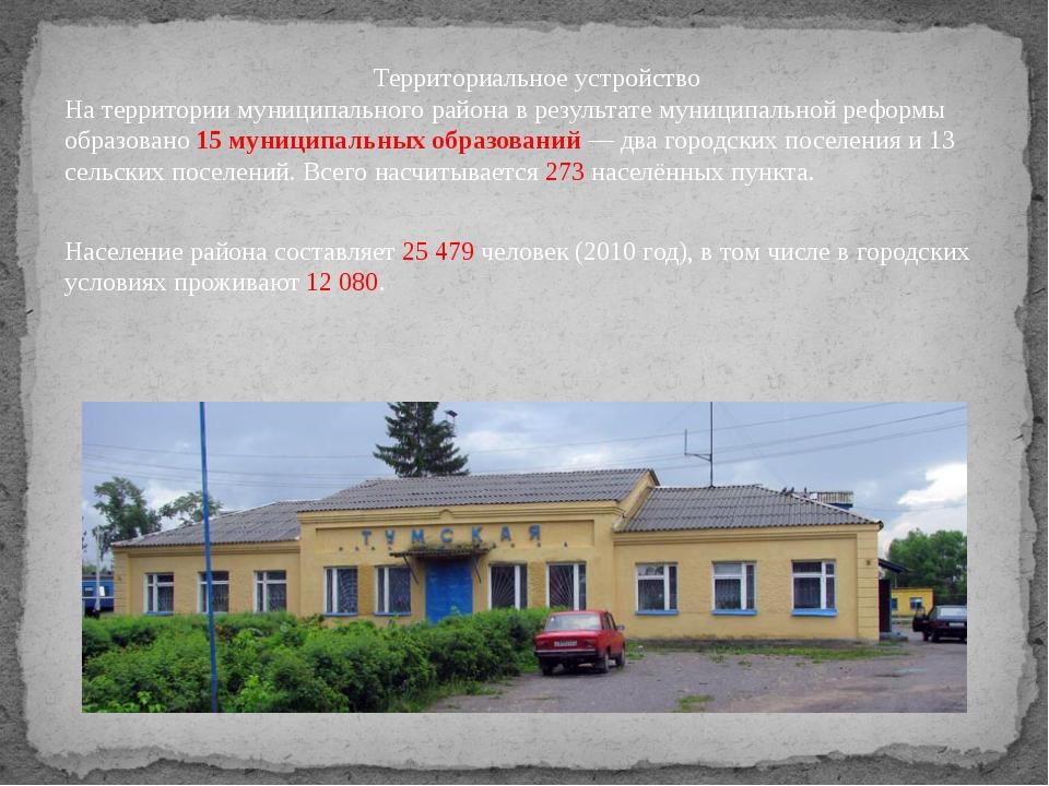 Территориальное устройство На территории муниципального района в результате м...