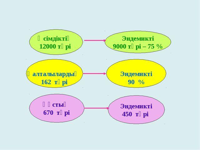 Эндемикті 450 түрі Өсімдіктің 12000 түрі Эндемикті 9000 түрі – 75 % Қалталыл...
