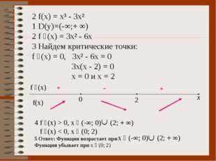 2 f(x) = x³ - 3x² 1 D(y)=(-∞;+ ∞) 2 f ´(x) = 3x² - 6x 3 Найдем критические то
