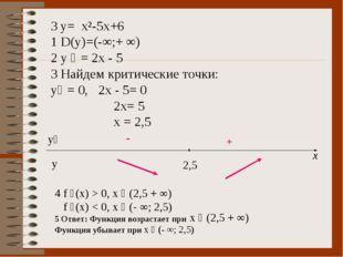3 y= x²-5x+6 1 D(y)=(-∞;+ ∞) 2 y ´ = 2x - 5 3 Найдем критические точки: y´ =