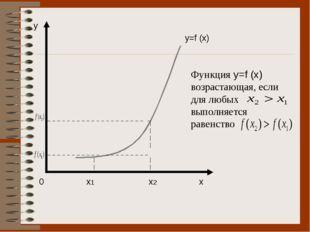 0 x1 x2 x y y=f (x) Функция y=f (x) возрастающая, если для любых выполняется