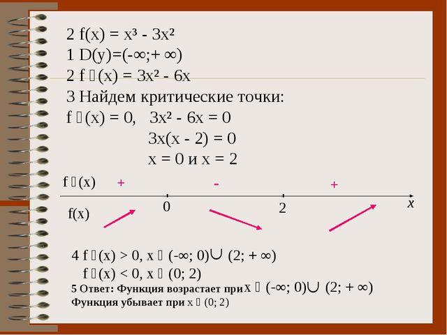 2 f(x) = x³ - 3x² 1 D(y)=(-∞;+ ∞) 2 f ´(x) = 3x² - 6x 3 Найдем критические то...