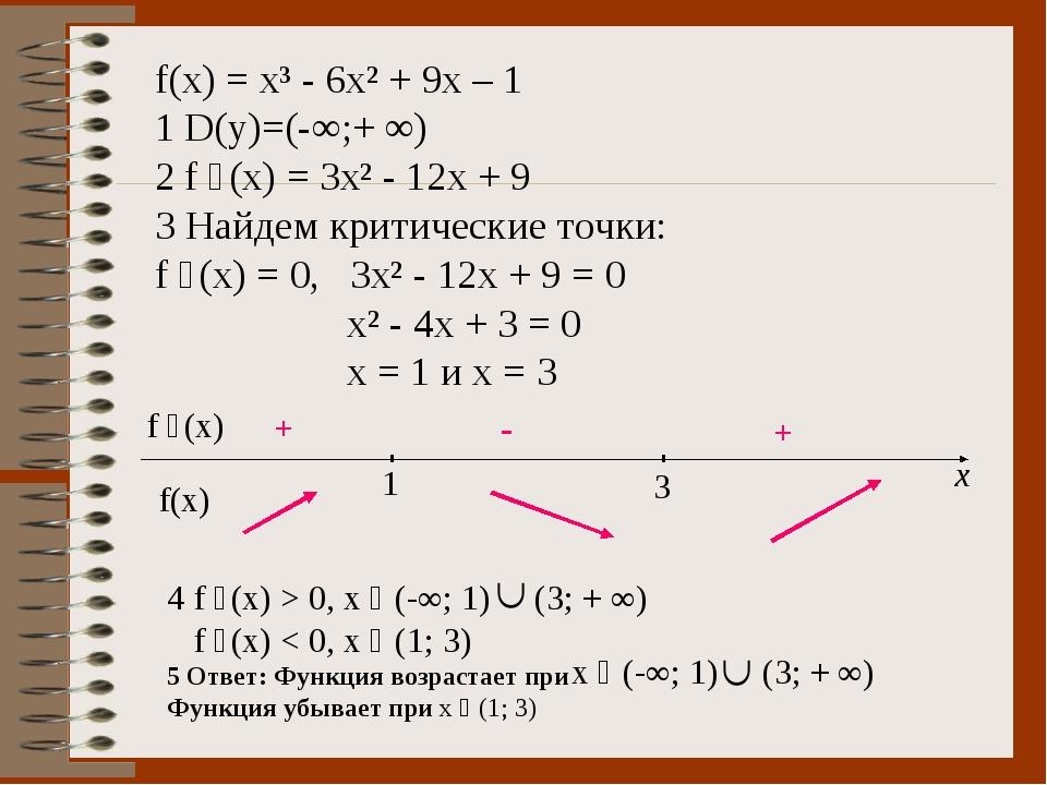 f(x) = x³ - 6x² + 9x – 1 1 D(y)=(-∞;+ ∞) 2 f ´(x) = 3x² - 12x + 9 3 Найдем кр...