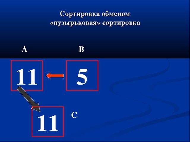 Сортировка обменом «пузырьковая» сортировка 11 11 5 А В С