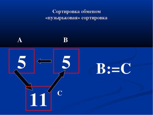 Сортировка обменом «пузырьковая» сортировка 5 11 5 B:=C А В С