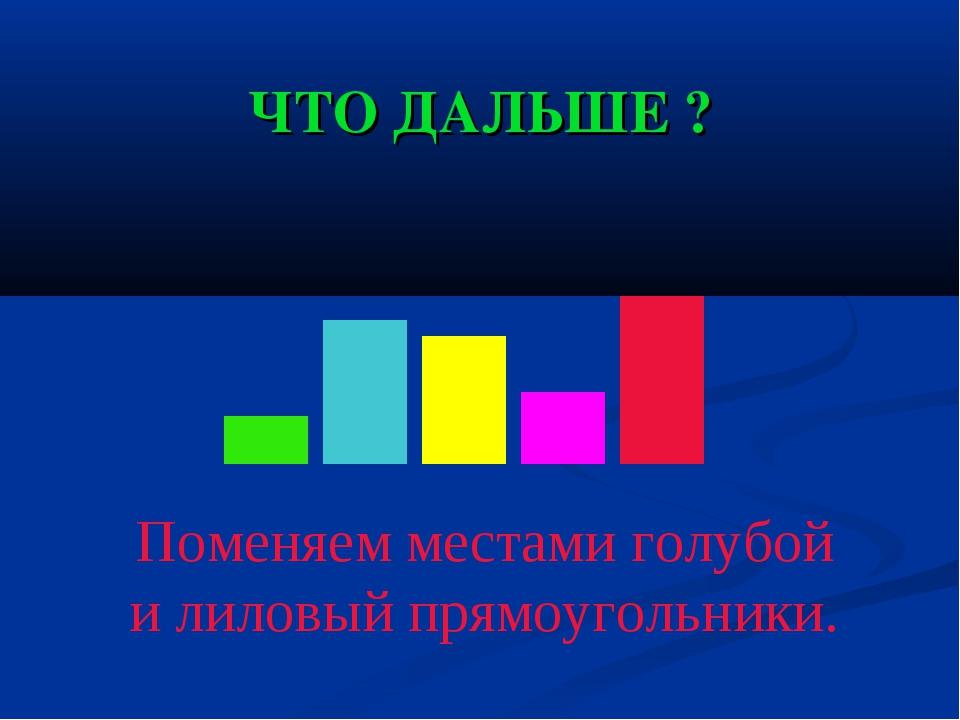 ЧТО ДАЛЬШЕ ? Поменяем местами голубой и лиловый прямоугольники.