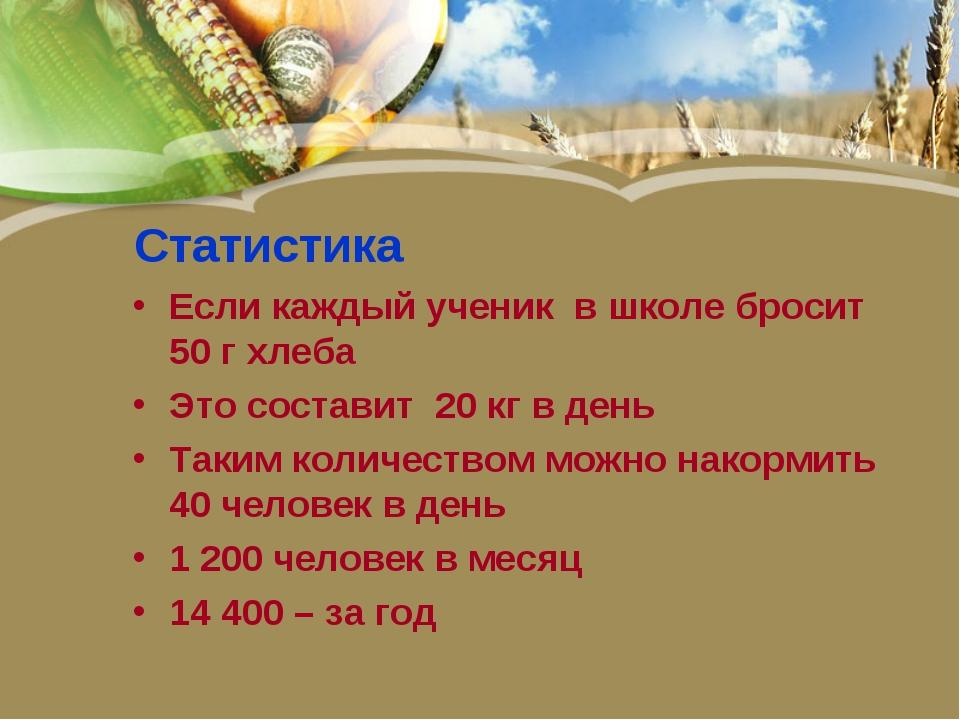 Статистика Если каждый ученик в школе бросит 50 г хлеба Это составит 20 кг в...