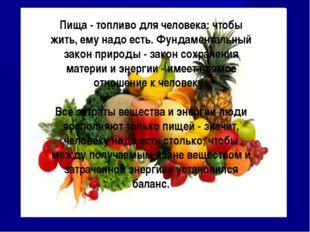 Пища - топливо для человека: чтобы жить, ему надо есть. Фундаментальный закон