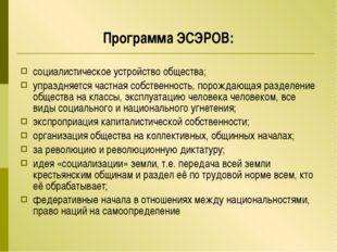 Программа ЭСЭРОВ: социалистическое устройство общества; упраздняется частная
