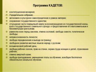 Программа КАДЕТОВ: конституционная монархия; Учредительное собрание; автономи