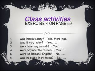 EXERCISE 4 ON PAGE 59 Class activities 1.Was there a factory? - Yes, there
