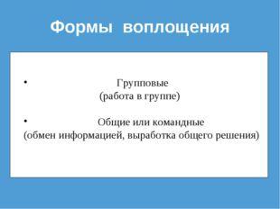 Формы воплощения Групповые (работа в группе) Общие или командные (обмен инфор