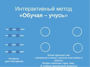Интерактивный метод «Обучая – учусь» Вопросы для повторения Блоки крупных тем