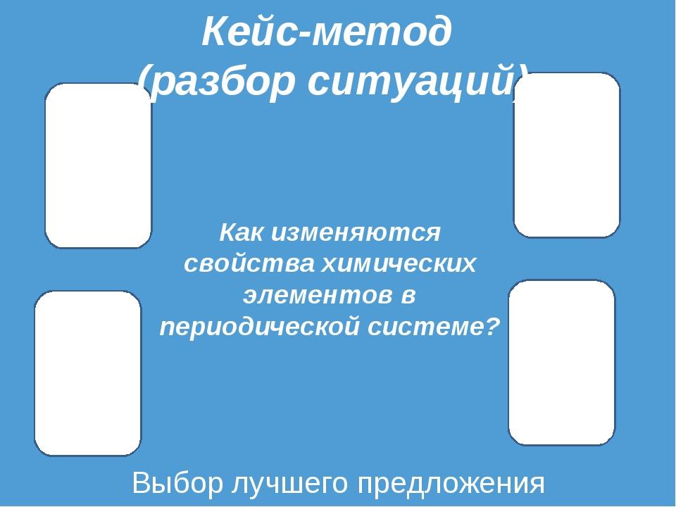 Выбор лучшего предложения Кейс-метод (разбор ситуаций) Как изменяются свойств...