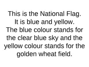 This is the National Flag. It is blue and yellow. The blue colour stands for