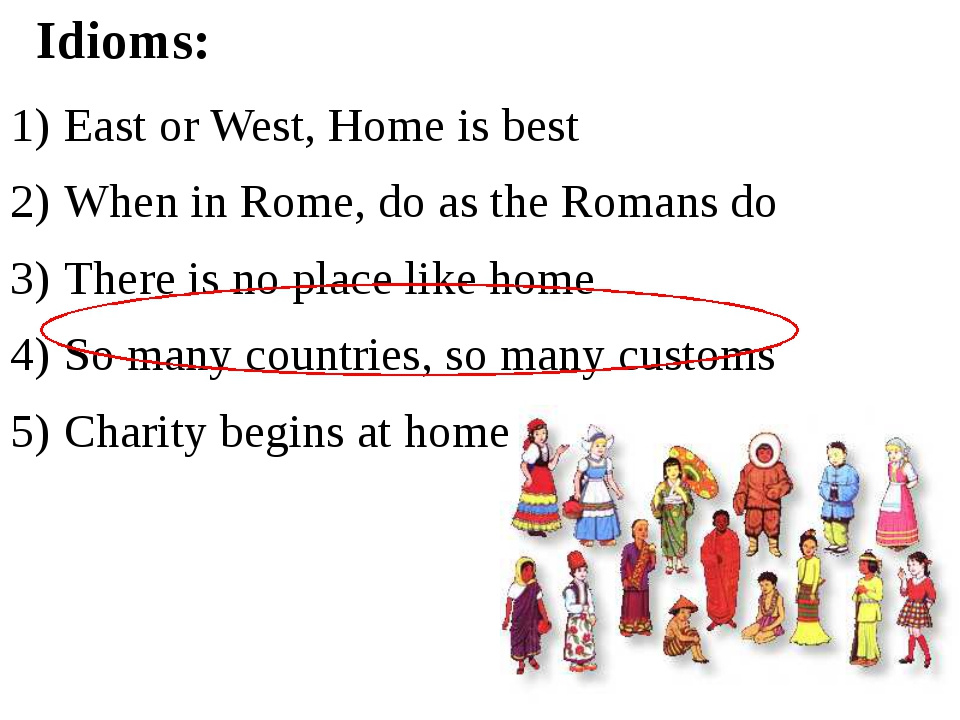 East or West, Home is best When in Rome, do as the Romans do There is no plac...