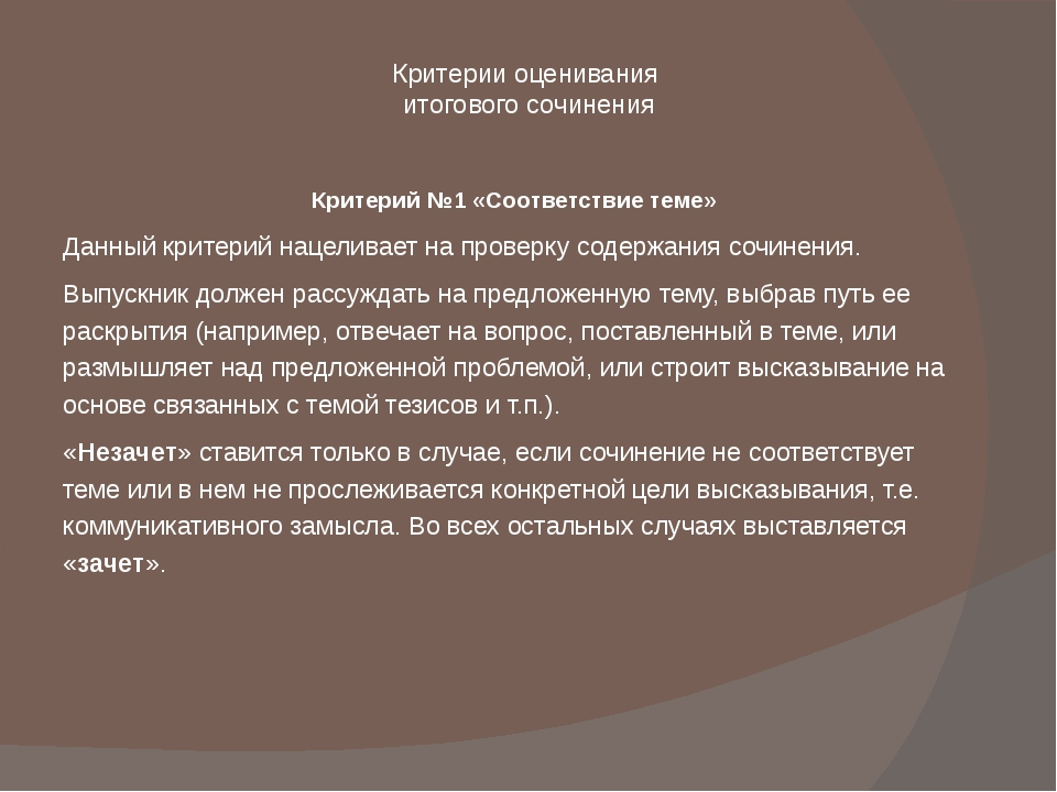 Критерии оценивания итогового сочинения Критерий №1 «Соответствие теме» Данны...