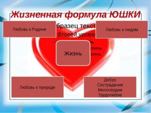 Жизненная формула ЮШКИ Жизнь Любовь к Родине Любовь к людям Любовь к природе