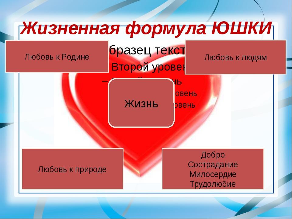 Жизненная формула ЮШКИ Жизнь Любовь к Родине Любовь к людям Любовь к природе...