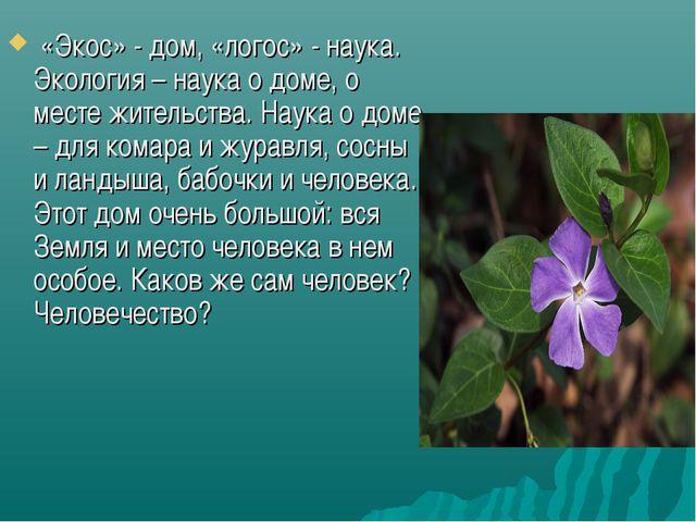 «Экос» - дом, «логос» - наука. Экология – наука о доме, о месте жительства....