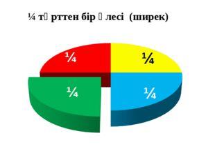 ¼ ¼ ¼ ¼ ¼ төрттен бір үлесі (ширек)