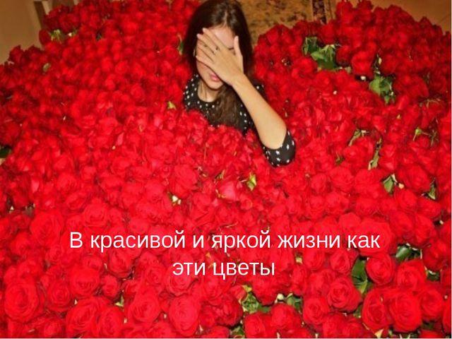 В красивой и яркой жизни как эти цветы